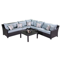 sky blue sectional rattan armless chair and left/right arm double seats latest corner sofa design