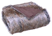 Luxurious Eskimo Faux Fur Throw Blanket, Brown