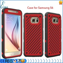 2015 hot selling mobile accessory Skidproof 3 in 1 Dual Layer Hybrid PC TPU Case for Samsung galaxy S6