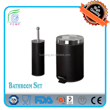 BSCI Factory - Mirro lid pedal bin & toilet brush holder bathroom furniture set accessories body with PU Leather decoration