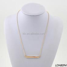 Hollow Out Gold Pendant Bar Metal Unisex Fashion Necklace