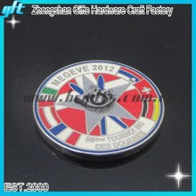 2012 Megeve skiing challenge coin soft enamel plating silver coin for souvenir