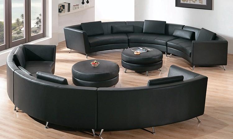mode en bois cadre 6 places canap ensemble c en forme de courbe vritable en cuir - Canape Courbe