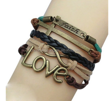 2015 fashion religious faith love infinity cross leather bracelet jewelry manufactures