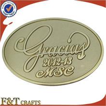 custom gold metal badge emblem with self adhesive