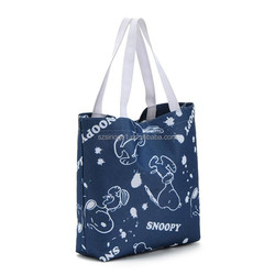 cute cartoon blue oxford fabric friendly cheap printed shopping bags