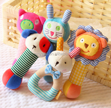 stuffed baby animal hand bell/infant baby rattles toys/stuffed lovely baby rattles