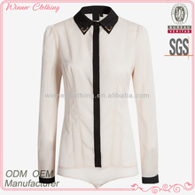 Ladies' fashion polyester long sleeves chiffon color combination open flying direct manufacturer neck designs pictures of b