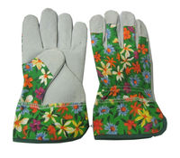 9-11inch flora printed cow split leather garden glove