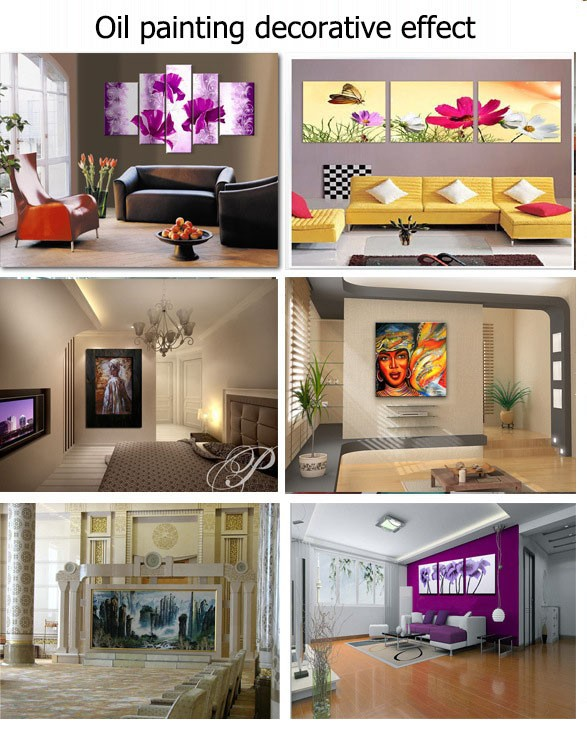 Buy Hand-painted big size modern wall art decor for living room hall park bench lamp Palette knife landscape oil painting on canvas cheap