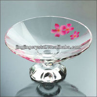 Clear Glass Compote Crystal Pallet Fruit Tray