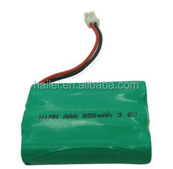 3.6V 850mAh capacity rechargeable NiMH battery pack used for toothbrush