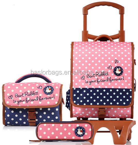 2015 mode sac d'école sur roues pour les filles