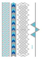 VT349/2015 new blue with silver bracelet metallic temporary tattoo design