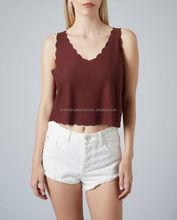 CHEFON Cropped latest fashion ladies scalloped edge tops