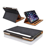 Tan Leather Wallet Smart Flip Case Cover & Screen Protector For Apple for iPad 2 3 4 With Full Sleep Wake Compatibility