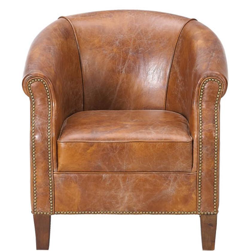 Bon Vintage Leather Tub Chair