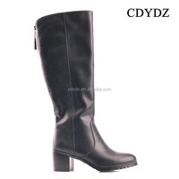 CDYDZ M1817-56073 Thick high heel black fashion square with side zipper knee knight long boots Women