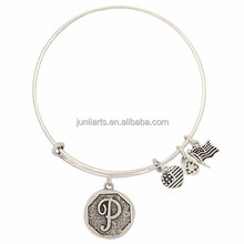 Personalized Silver Qntique Silver Bangle Bangle Alex and Ani Style 26English Letter,And Other Styles Adjustable charm Bracelet