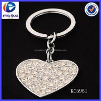 Custom Heart Shape Diamond-Studded Key Chain