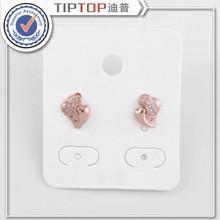 2015 New Fashion Women/Girl 18k Rose pink Gold Champagne real Zircon love heart Dangle Earrings Jewelry wholesale