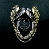 vintage antiqued silver bronze angel wings fashion chic women collar brooch pin jewelry 6520003