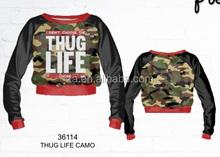2015 New Product Custom Full Sublimation Printing thug life camo crewneck sweatshirt In China Wholesale