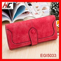 Wholesale promotion lady leather wallet case long hasp style trifold with id card window
