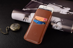 Brown Slip pouch case, PU leather cell phone case, for iphone 6