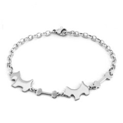 Yiwu Aceon Stainless Steel Laser-cut Dog and Bone Bracelet