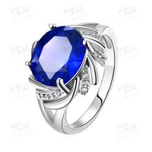 2015 latest popular single big blue neelam stone gold ring designs for women ladies