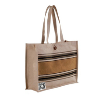 Custom Silk Screen Printed Jute Shopping Bag with Button Closure