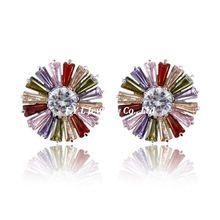 High quality hot new zircon earrings earrings sunflowers zircon jewelry factory direct Allergy