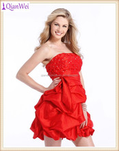 2015 latest fashion knee length ruched taffeta bubble gown short red cocktail dress