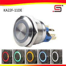22mm micro ring locks waterproof rgb emergency with led push button switch