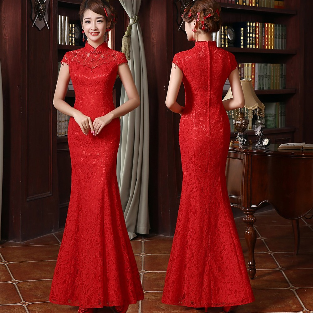 Traditional chinese red bridal lace cheongsam wedding dresses traditional chinese red bridal lace cheongsam wedding dresses ombrellifo Images