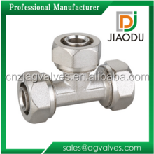 low price forged chrome plated C5341 brass pvc reducing tee connector for pipes