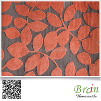 Polyester Material Leaves Pattern Flock Fabric For Sofa