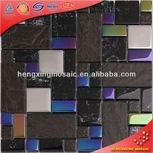 HTC01 Chapado brillante mezcla cerámica mosaico de vidrio para la decoración del vestíbulo del Hotel