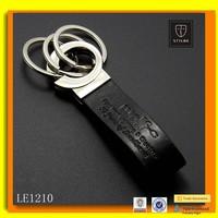 Custom Embossed Logo Three Rings Genuine Leather Keychain