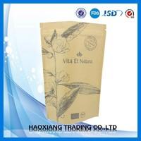 Custom printing bottom gusset kraft paper bag with zipper