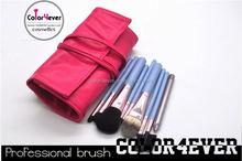 Top Quality animal hair 9pcs fuisha pink case cosmetic brushes silver brush mirror set