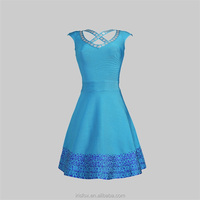 Light blue sexy cross collar pictures office dress for ladies