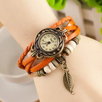 Hot Different Pendents Colors Are Available Wristwatch Women Leaf Pendent Genuine Leather Vogue Copper Watch
