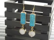 CH-ZSE0046 new design earring,druzy charm dangle earring,fashion jewelry stone earring