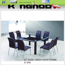 white color square clear glass dining room furniture