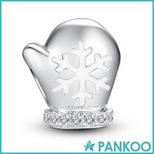 Christmas Glove Snowflake Charm 925 Sterling Silver