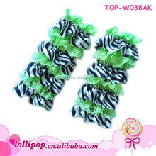 Hot sales! lovely lime lace with zebra wholesale ruffle baby leg warmers