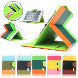 Hybird colorful wallet leather Case for iPad Mini 1 2 3, for ipad mini 1 2 3 case wallet