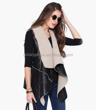 2015 OEM Factory Wholesale New Women Winter Fashion Wild Collar sleeveless Jacket Leather grass Vest Coat